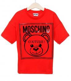 Moschino Little Girls Red Logo T-Shirt