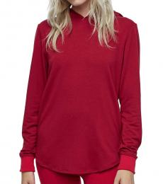 True Religion Ruby Red Cut Out Hooded Tunic