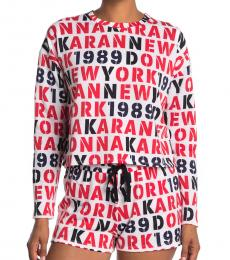 DKNY White Allover Logo Pajama Top