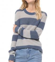Michael Kors Grey Striped Alpaca Sweater