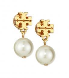 Tory Burch Gold Faux Pearl Earrings