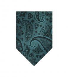 Dolce & Gabbana Turquoise Green-Black Paisley Print Tie