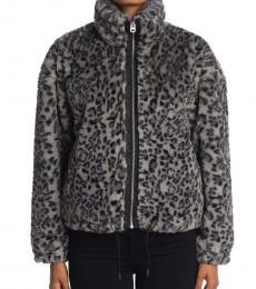 Lucky Brand Dark Grey Funnel Neck Faux Fur Jacket
