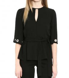 Michael Kors Black Grommet-Sleeve Sash Top