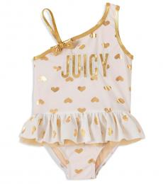 Juicy Couture Little Girls White Heart-Print Peplum Swimsuit