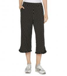 Michael Kors Black Printed Ruffled Wide Leg Capri Pants