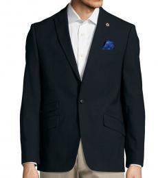 Ben Sherman Navy Blue Textured Wool-Blend Jacket