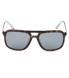 Grey Brown Rectangular Sunglasses