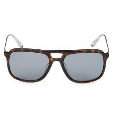 Prada Grey Brown Rectangular Sunglasses