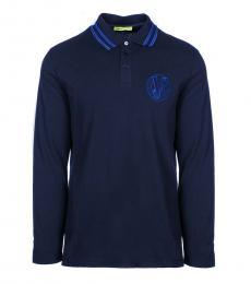 Dark Blue Pique Long Sleeve Logo Polo