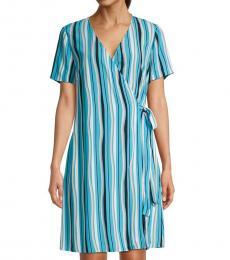 Diane Von Furstenberg Blue Saville Printed Wrap Dress