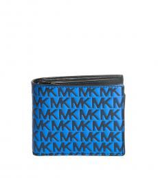 Michael Kors Navy-Atlantic Blue Raised Logo Passcase ID Wallet