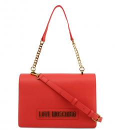Love Moschino Red Solid Medium Shoulder Bag