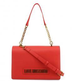 Love Moschino Red Solid Medium Shoulder Bag