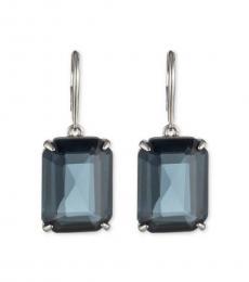 Silver Blue Square Drop Earrings