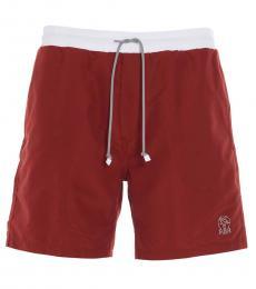 Brunello Cucinelli Red Logo Swim Shorts