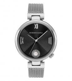 BCBGMaxazria Silver Dress Sport Black Dial Watch