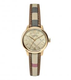 Burberry Brown Classic Sunray Gold Dial Watch