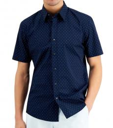 Michael Kors Navy Blue Slim-Fit Short Sleeve Mini-Dot Shirt