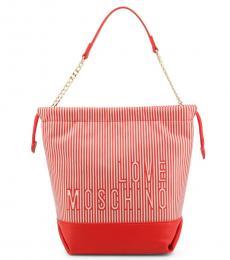 Love Moschino Red Striped Medium Bucket Bag