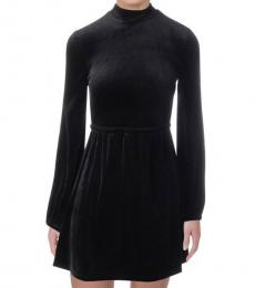 Pitch Black Velour Mini Dress