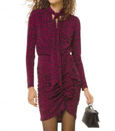 Michael Kors Pink Leopard Tie-Neck Dress