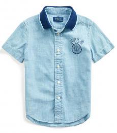 Ralph Lauren Little Boys Blue Polo-Collar Chambray Shirt