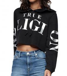 True Religion Black Logo Crop Hoodie