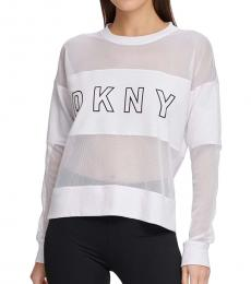 DKNY White Sport Mesh-Blocked Top
