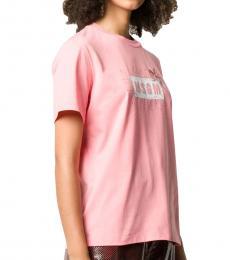 MSGM Pink Logo Print T-Shirt