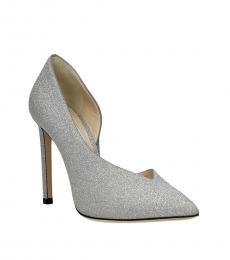Jimmy Choo Silver Sophia Glitter Heels