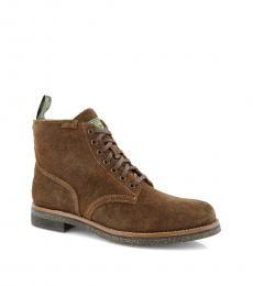 Ralph Lauren Brown Roughout Combat Boots