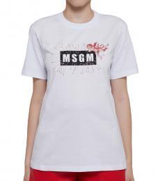 MSGM White Logo Print T-Shirt