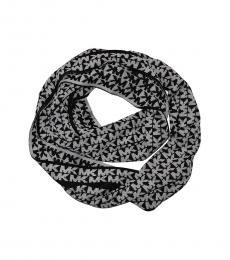 Michael Kors Charcoal MK Logo Reversible Scarf