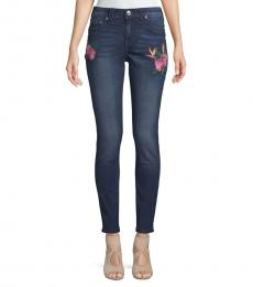 True Religion Medium Blue Embroidered Curvy Jeans