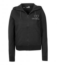 Love Moschino Black Logo Hoodie Jacket