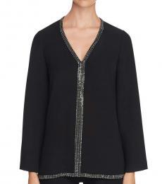 Tory Burch Black  Silk Embellished Tunic Top