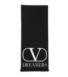 Valentino Garavani Black-White Logo dreamers Scarf