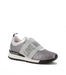Love Moschino Grey Logo Band Glitter Sneakers
