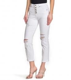 True Religion White Star Button Skinny Jeans