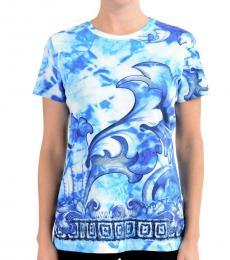 Sky Blue Printed Crewneck T-Shirt