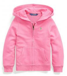 Ralph Lauren Little Girls Baja Pink Cotton-Blend-Terry Hoodie