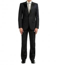 Navy Blue Wool Silk One Button Suit