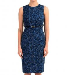 Versace Collection Blue Belted Sheath Dress