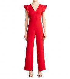 DKNY Scarlet V-Neck Ruffle Jumpsuit
