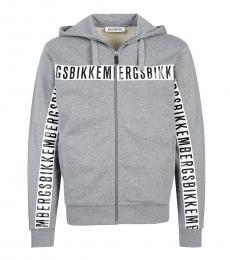 Grey Graphic Logo Zipper Jacket