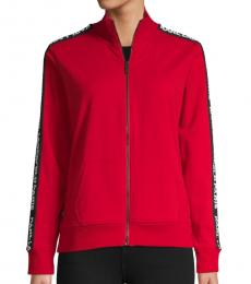 Karl Lagerfeld Red Logo Tape Zipper Jacket