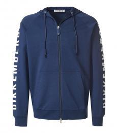 Dark Blue Graphic Logo Zipper Jacket