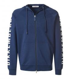Bikkembergs Dark Blue Graphic Logo Zipper Jacket