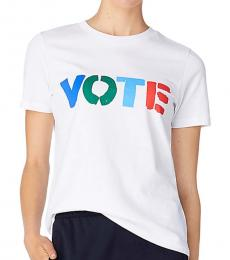 Tory Burch White Solid Multicolor Vote T-Shirt